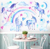 Unicorn Fairy Tale Fantasy Wall Art Stickers Mural Decal Kids Girls Bedroom EF8