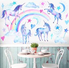 Unicorn Wall Stickers Rainbow Wall Art Kids Girls Bedroom Stars Nursary Decal