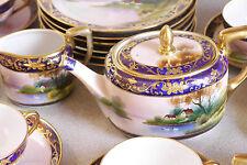 1920s Noritake Morimura hand-painted gilt 23-pc tea set for 6, cottage, swans