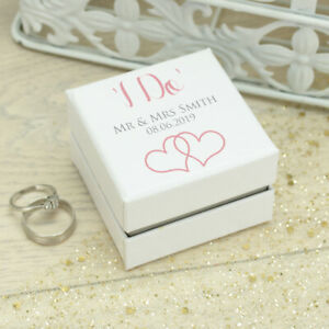Personalised **I Do** White Wedding Ring Box