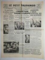 N1070 La Une Du Journal Le petit dauphinois 1 août 1936 l'inquiétude  Europe