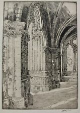 John Wesley Cotton Signed Etching Narthex Of An Old Church In France Chartres