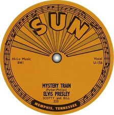 Elvis Presley. Mystery Train. Vinyl record label sticker. Sun Records. Memphis