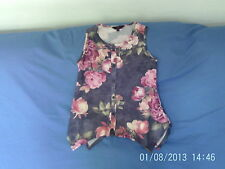 Girls  8-9 Years  - Grey with Pink Floral Sleeveless Tunic Top  - YD