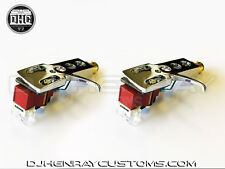 2 New Custom Calibrated Shure M44-7's w Chrome Head Shells w brick red Carts