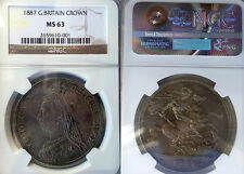 GB  1887 Crown, Superb NGC 63, Original, Rare High Grade, Sharp Detail.
