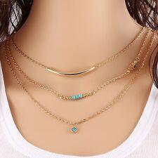 Bijou collier multi-rangs 3 chaînes pendentifs perles turquoise design doré