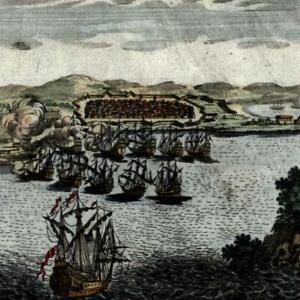 Callao Peru 1719 very early urban birds-eye view plan map tall ships
