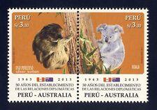 PERU 2609-10 ** Diplomatische Beziehungen mit Australien KOALA FAULTIER Flaggen