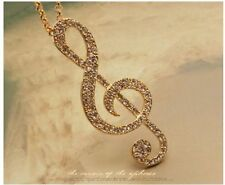 fashion women Gold Music Note Rhythm Crystal Sweater Necklace Pendant korean