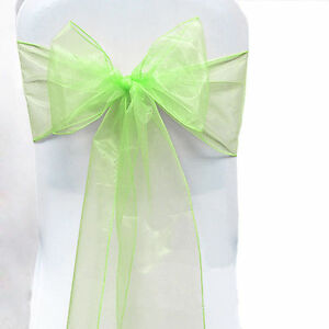 """100 Organza Chair Cover Sash Bows 8""""x108"""" 30 Colors Extra Wide Wedding Party"""