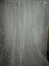 KEECO TREES WHITE NATURE ETCHED SEMI SHEER (PAIR) LONG CURTAINS PANELS 54 X 95