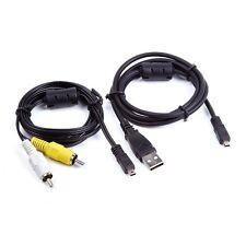 USB Data SYNC +AV A/V TV Cable For Sony Cybershot DSC-H200 b/k DSC-H300 b Camera