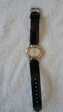 Chico's Watch White Oval Face w Black Shiny Vinyl/Leather Band