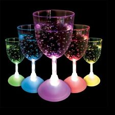Strobing LED Wine Glass x 1, light up plastic party glass, multi coloured 621