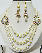 Antique Gold Plated Diamond Pearl Party Wear Necklace Earrings Jewellery Set