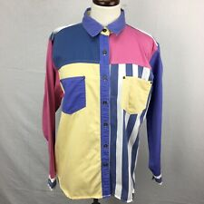 Vtg 80s Gitano Colorblock Womens Button Down L/S Shirt sz S Boho Indie 90s