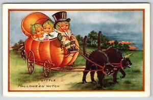 Halloween Fantasy~Pumpkin Kids Ride in Black Cat Pulled JOL Coach~Whitney Made