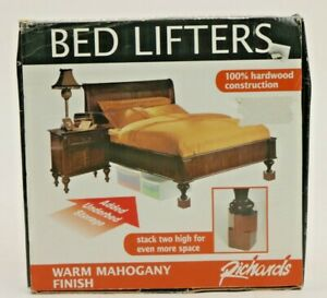 Richards 4 Stackable Block Glossy Hard Wood Bed Lifters Under Bed Storage Space