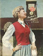 1950'S VINTAGE  KNITTING PATTERN WOMEN'S SMART WAISTCOAT