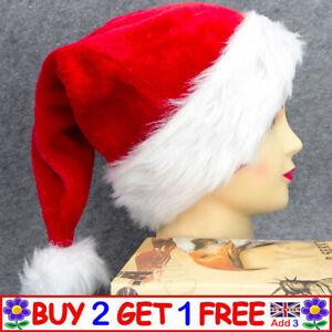 Christmas Soft Plush Unisex Santa's Hat Xmas Holiday Party  Adult & Kids Caps