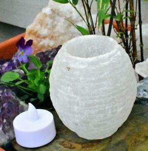 Selenite Crystal Candle Snow Ball Tea-Light Holder, Christmas Gift Love Light