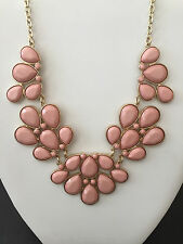WOMEN'S FASHION PINK GOLD BIB STATEMENT NECKLACE STONES BRIDESMAID TARGET BRAND
