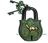 Solid Camel Shape Lock Antique Vintage Style Brass Handmade Padlock & Keys