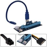 6PIN USB3.0 PCI-E Express 1xto16x Extender Riser Card Adapter Power Mining Cable