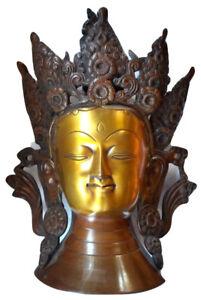 Outstanding Tibetan Gilt Bronze Head of Avalokiteśvara