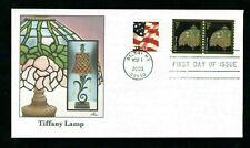 2003 Sc #3758 1c Tiffany Lamp coil + Flag Fleetwood cachet FDC