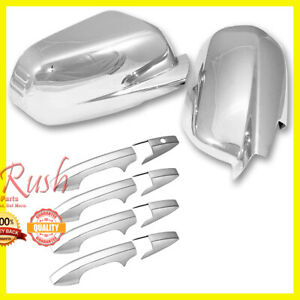 FOR 2007-2011 HONDA CRV CR-V CHROME DOOR HANDLE + SIDE MIRROR COVERS COMBO DEAL