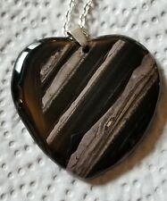 N898. Black Tiger Iron Striped Heart Pendant bead Necklace