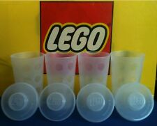 LEGO® Plastic Stackable Storage Cups Containers with Snap On Lids (Lot of 4)
