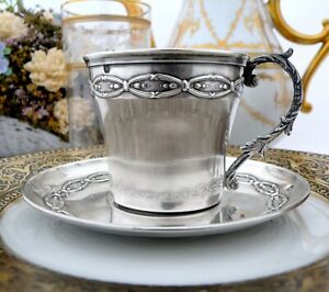 Antique French Sterling Silver cup and Saucer Splendid Decor