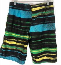 Point Zero Men's Board Shorts - Size Medium - Green / Blue Pockets Cargo