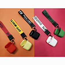 For AirPods Cover With Lanyard Silicone Earphone Case Off white 5 Color