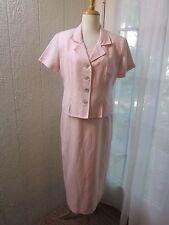 Coldwater Creek Pink Linen&Rayon Blend Jacket Dress Suit Women P12 **Excellent**
