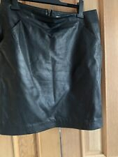 Grey Willow  Black Leather Mini Skirt Size 16