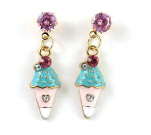 New Woemn jewelry Betsey Johnson Pink Crystal Enamel Ice cream Earrings