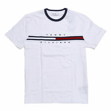 bd59c60a2e7 Mens Classic Fit Tommy Hilfiger Striped Crew Neck T Shirt S M L XL 2xl  White Regular XS