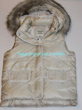 Abercrombie by Hollister Womens Fur Trim Vest Jacket Gilets Body warmer Cream S