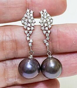 Gorgeous 10.5 - 11mm Edison Natural Black Blue Cultured Pearl Dangle Earrings