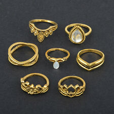 7Pcs/Set Vintage Silver Boho Pearl Midi Finger Finger Knuckle Rings Band Jewelry