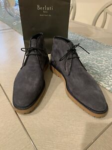 BERLUTI Size 10.5 UK 11.5 USA Suede Leather Trim Ankle Boots