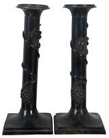 """2 Vintage Cast Metal Candlestick Candle Holders Grapes Buffet Mantel 10"""""""