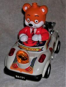 Vintage Cartoon Car Animal Police w/ Bear Plastic Battery Operated Toy No Box