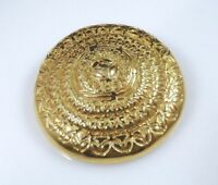 Vintage Monet Brooch Pin Gold Tone Circle Dome Filigree Shield Large Signed