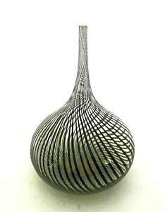 "Clear Glass Vase with Black Twist Stripe Swirl Pasabahce? No sticker 12"" Tall"