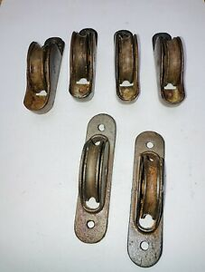 6 Antique Vintage Window Sash Weight Pulleys Rope Roller Cast Iron Reclaimed